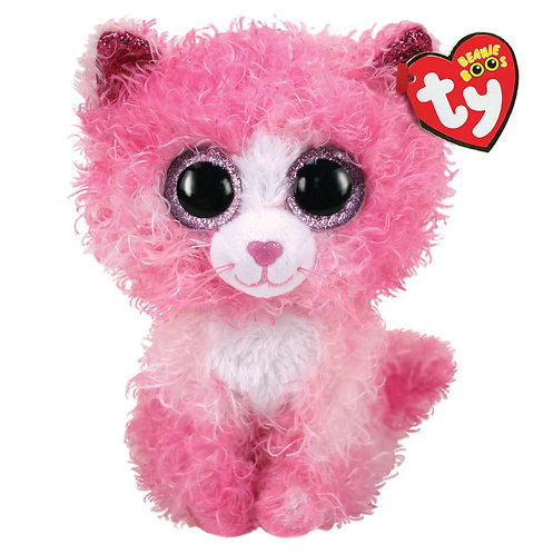 TY REAGAN CAT WITH PINK CURLY HAIR PLUSH 15CM