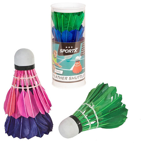 SPORTX FEATHER SHUTTLECOCKS COLORED 3 IN TUBE