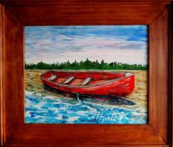 Red Boat Down 2017 Framed