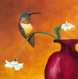 Red Vase Hummingbird