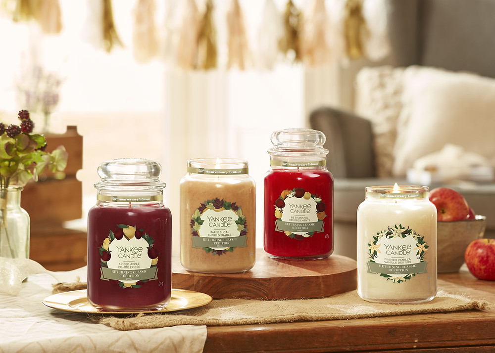 Yankee Candle®'s 50th Anniversary Edition Candles (Spiced Apple, Maple Sugar, Be Thankful, French Vanilla)