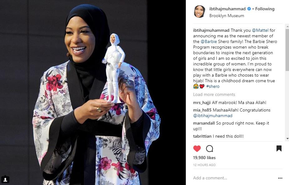 Mattel unveiled its first ever hijab-wearing Barbie doll in honour of US Olympic fencer Ibtihaj Muhammad
