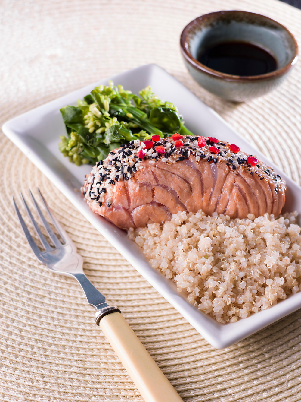 MISO SALMON WITH QUINOA, KAILAN AND BROCCOLI