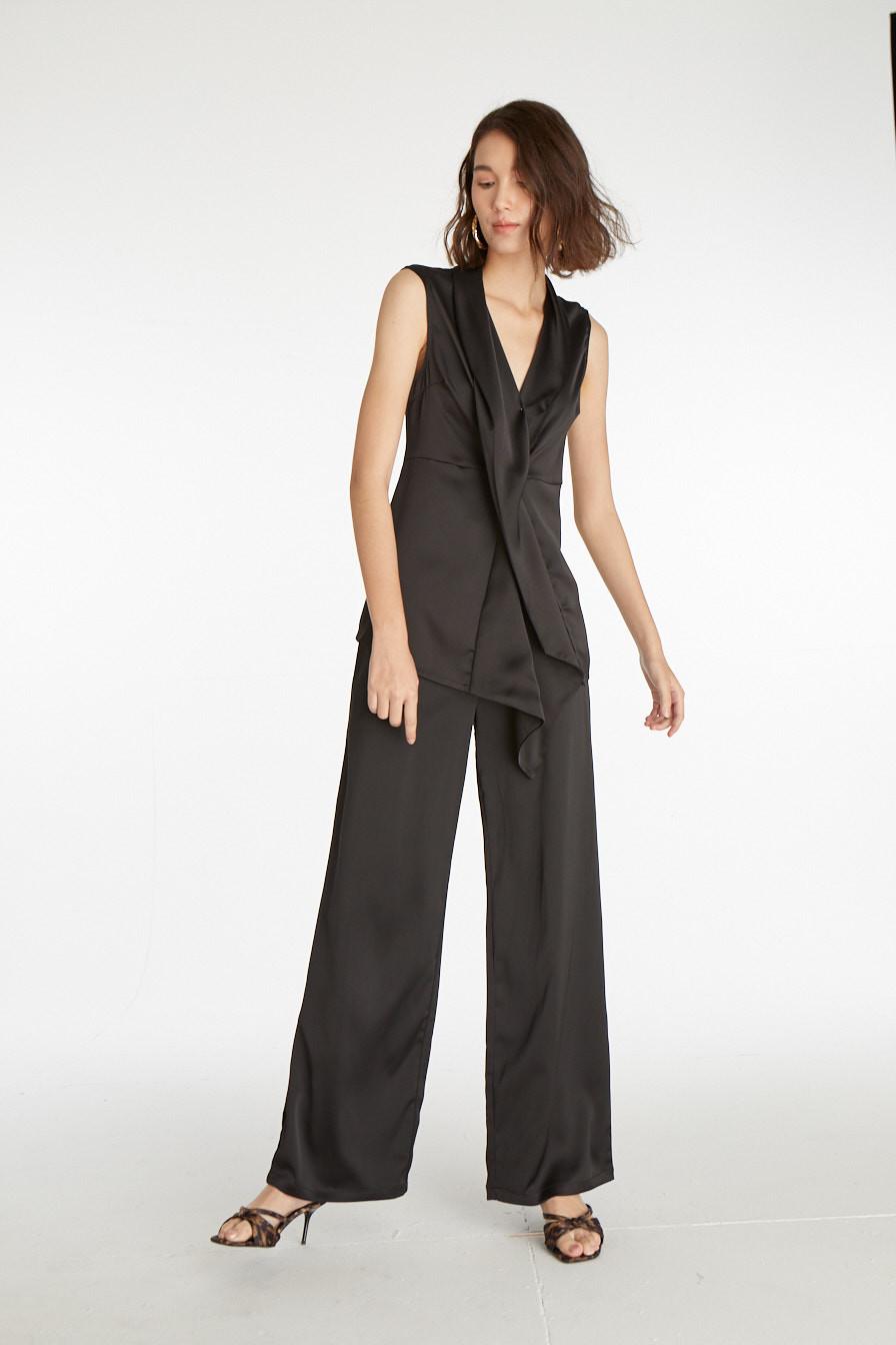 Styles on Sale - Satin Ruffled Surplice Top