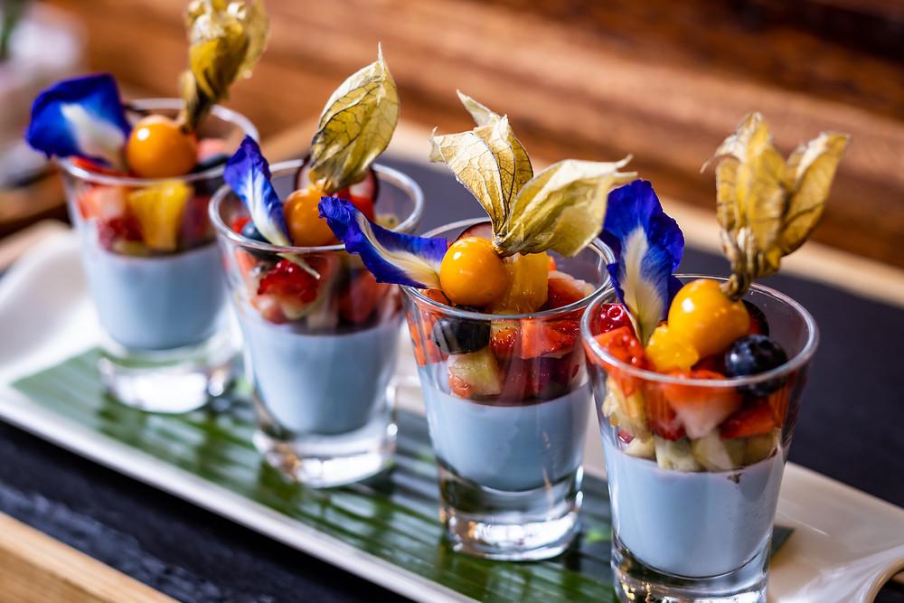 Blue Jasmine - Thai Tea Pudding with Lychee