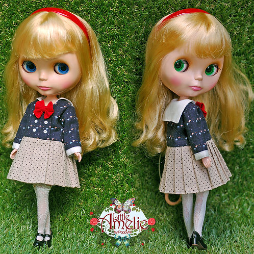 Patterns and English Instructions of Sailor dress for Blythe