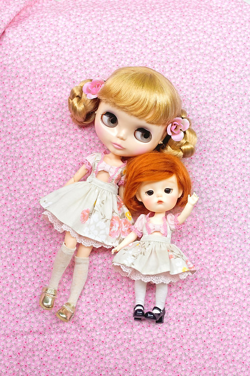 Patterns and English Instructions of Pink Rose Dress and Petticoat for Blythe,La