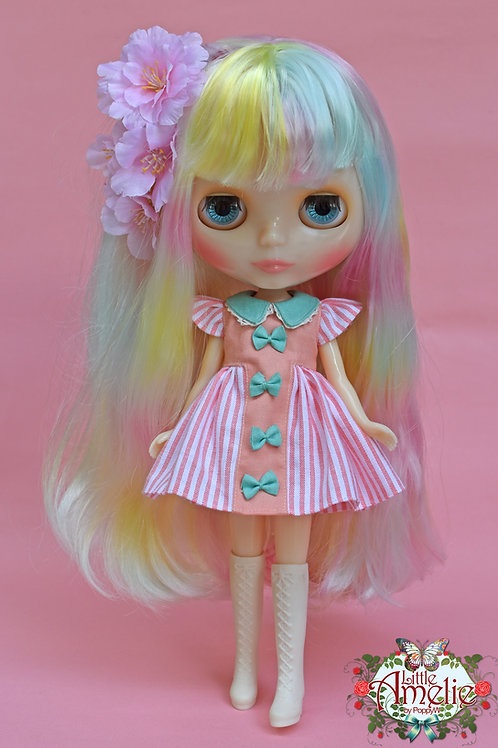 Patterns and English Instructions of Pastel Striped dress for Blythe