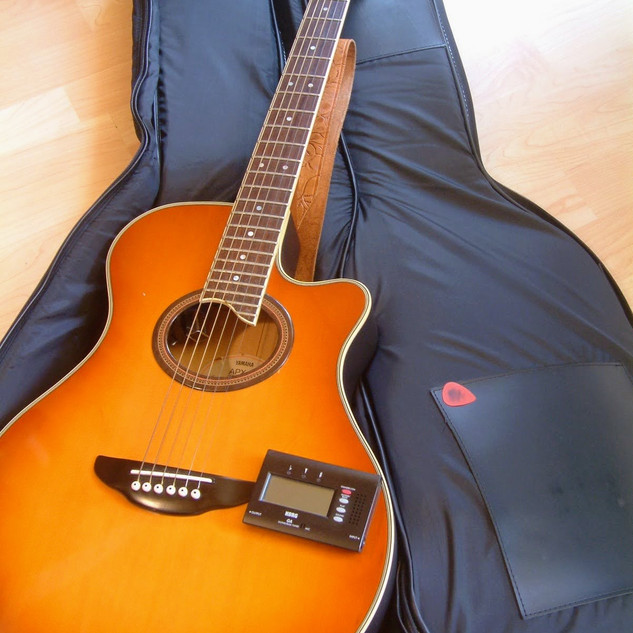 Gitarre mit Gitarrentasche, Plektrum & Stimmgerät