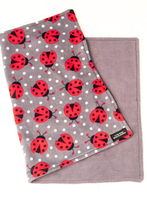 Double Sided Blanket - LADYBUG/CHARCOAL