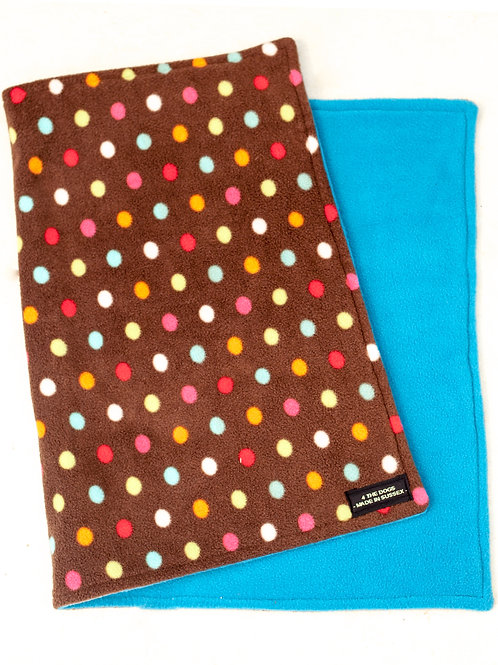 Double Sided Blanket - BROWN SPOT/TURQUOISE