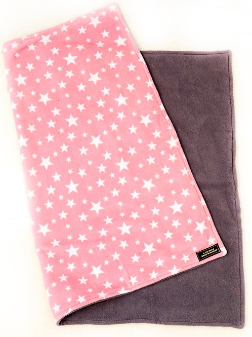 Double Sided Blanket - PINK STAR/CHARCOAL