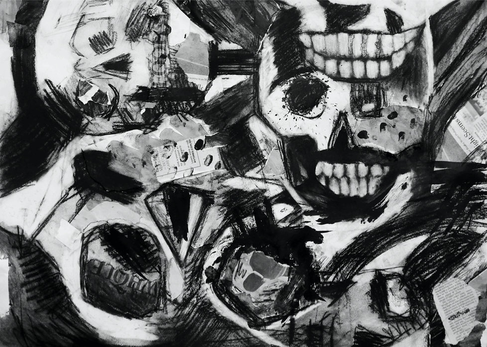 A mixed media painting inspired by a skull