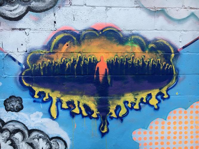 Close-up of Cloud Mural