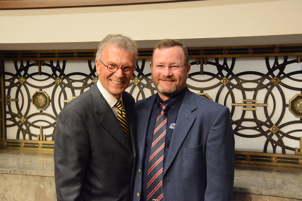 Daschle is pictured here with SDFU President, Doug Sombke during the 2019 National Farmers Union D.C. Fly-In. Courtesy of SDFU