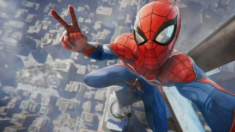 Spider-man takes a selfie from the top of the Empire State building in midtown Manhattan..