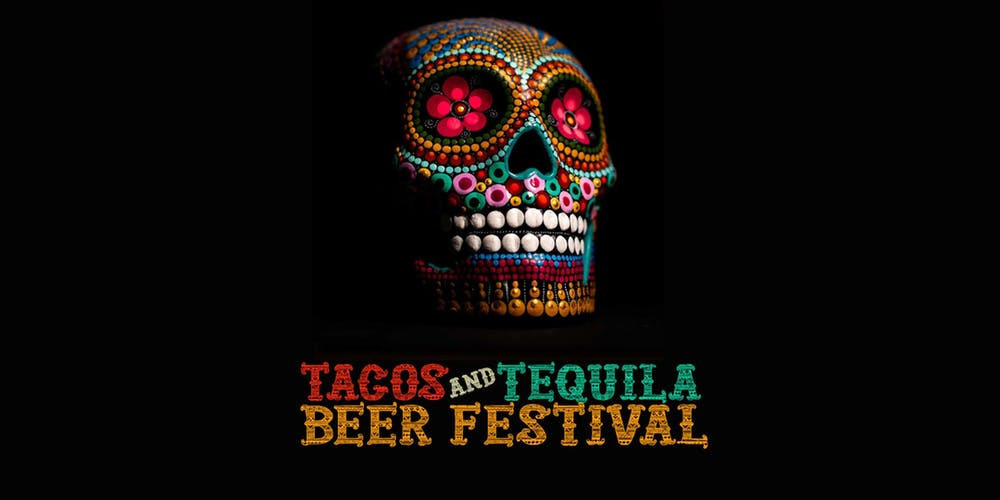 intricately decorated Día de los Muertos skull for tacos and tequila beer festival