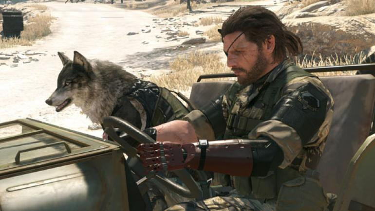 A cybernetically-altered super soldier and his wolf companion drive through the desert in an olive green Jeep.