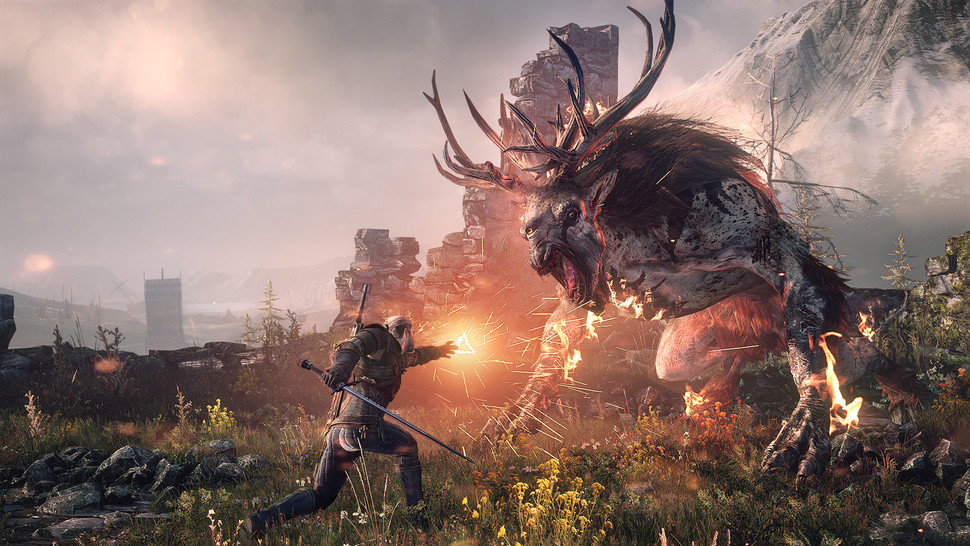 Medieval hero and magic user battles a mythical monster with huge antlers and claws in the ruins of a town.