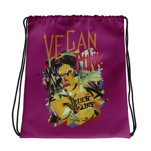 "Drawstring bag  ""Vegan Punk"" Be there Voice   Fuck Diary"