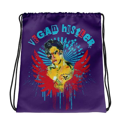 "All-Over Print Drawstring Bag Purple  ""Vegan Hustler"" Vegan with an attitude"