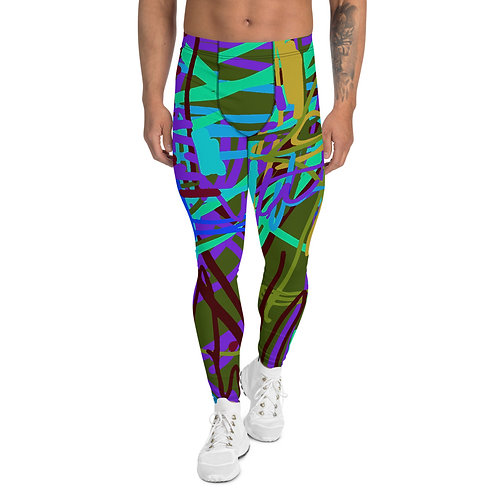 "Men's Leggings ""Kimono"" Army Green. From my Original Art Wear collection."