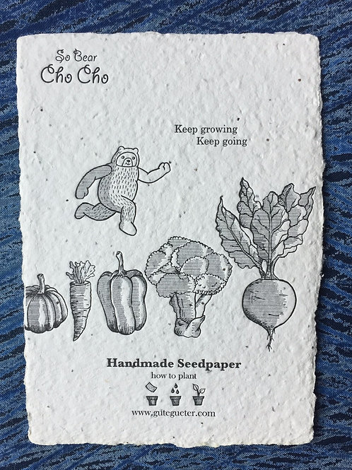"""""""Cho Cho - Keep Growing, Keep Going"""" Seed Card"""