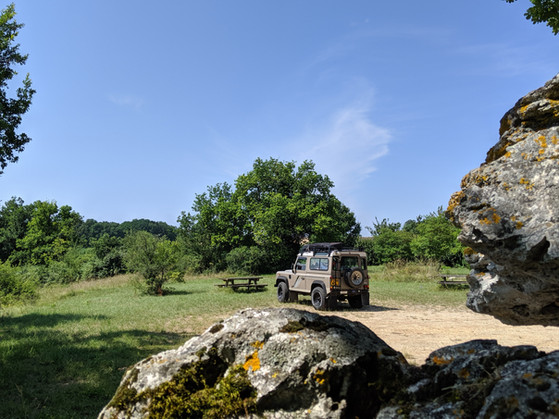 Fran parked by a neolithic tomb, France