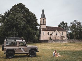 Fran and Bela picnicking in rural France