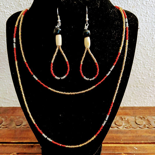 Gold/Red Double Strand Necklace with Earrings