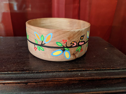 Hand Spun Maple Bowl With Metis Art - small