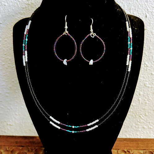 Double Strand Necklace & Earrings