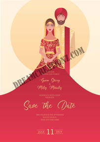Indian wedding invitation with character