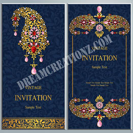 Royal Blue Indian wedding invitation cop