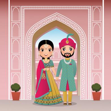 wedding-invitation-card-bride-groom-cute
