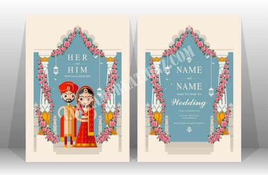 Two side indian wedding invitation copy.