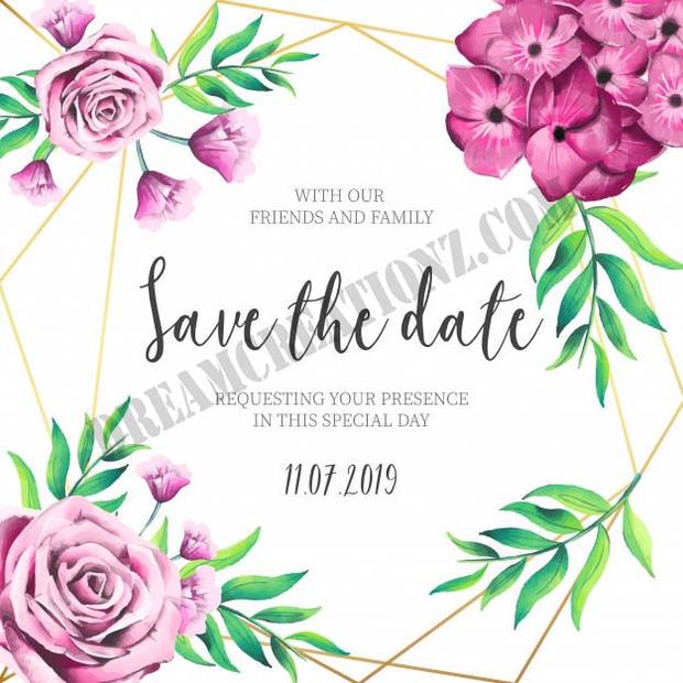pink-flowers-wedding-invitation-with-gol