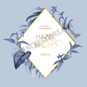 wedding-invitation-card-with-blue-leaves