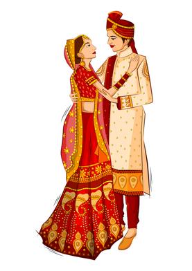 Bride groom caricature