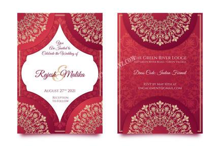 Indian wedding Invitation front and deta