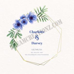 wedding-golden-floral-frame-blue-flowers