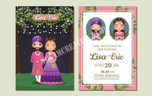 Cute couple character indian wedding inv