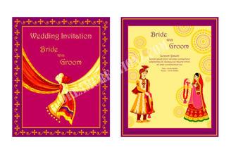 Indian caricatures wedding invitation co