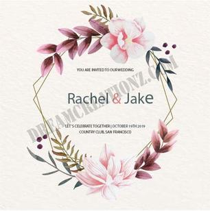 Elegant floral frame wedding invitation