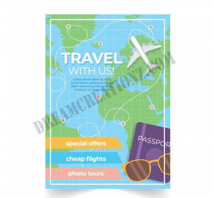 travel-flyer-with-destinations-flat-styl