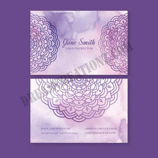 watercolour-violet-mandala-business-card
