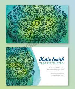 mandala-watercolor-business-card-green c