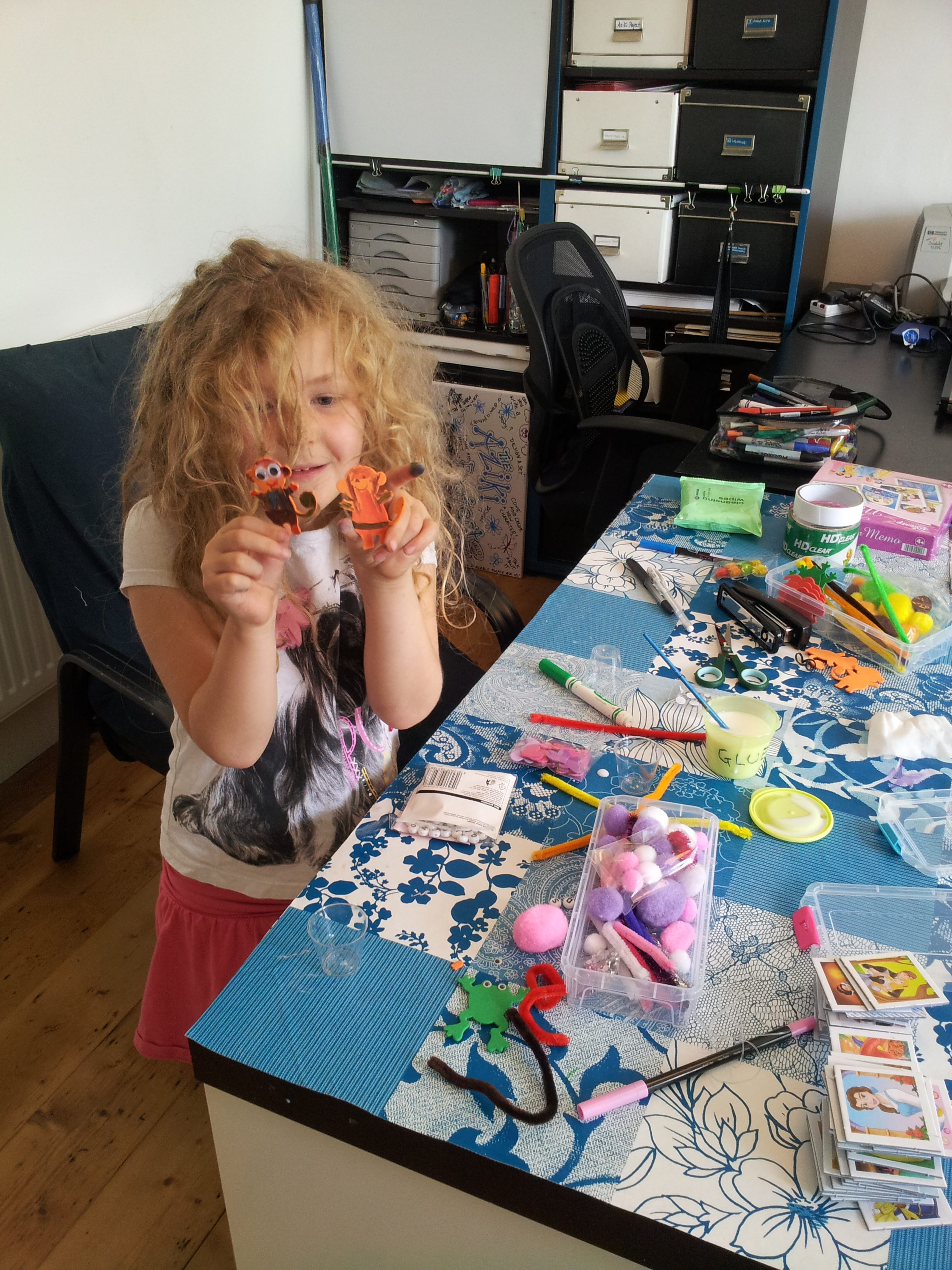 Lottie making mini puppets