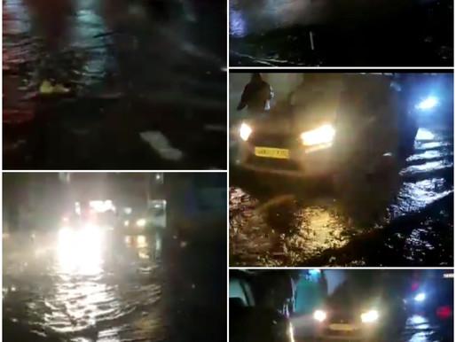 नैनी झील का पानी आया रोड पर, पुलिस ने लोगों से की सतर्क रहने की अपील,