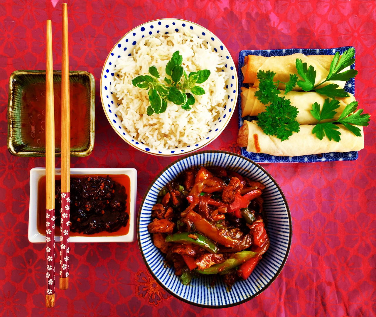 chinese chow mein with rice